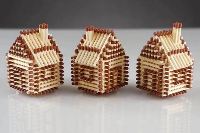 Поделки из спичек: домик, церковь, колодец, мебель