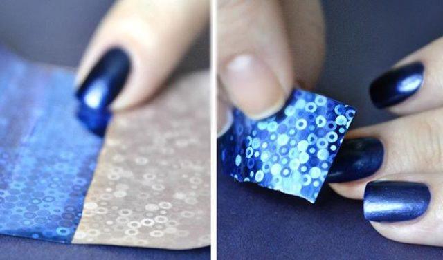 Как клеить фольгу для ногтей?