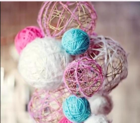Как сделать новогодние шары своими руками из ниток и клея